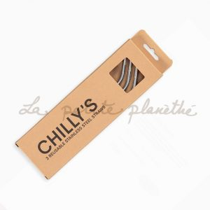Chillys Bottle Pajitas Acero Inoxidable + limpiador
