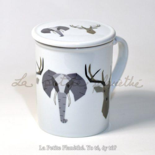 Taza con infusor Animales Elefante y Ciervo