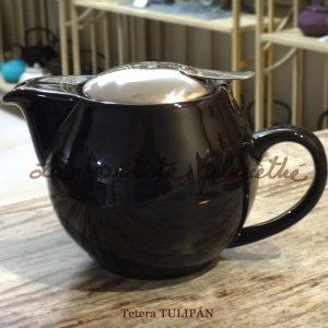 Tetera de porcelana Tulipán Negra