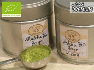 lata de té verde Matcha japonés de cultivo orgánico