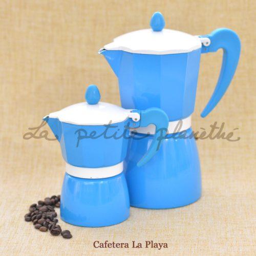 Cafetera italiana La Playa. Color azul, de aluminio.