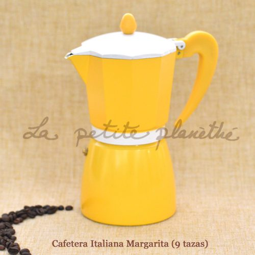 Cafetera italiana de 9 tazas Margarita. Color amarillo, de aluminio.