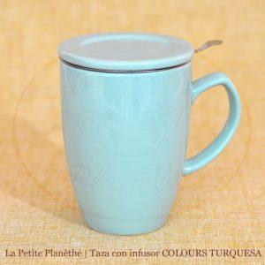 taza con infusor COLOURS TURQUESA 1