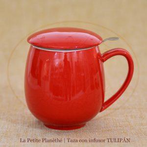 taza con infusor tulipan rojo 1