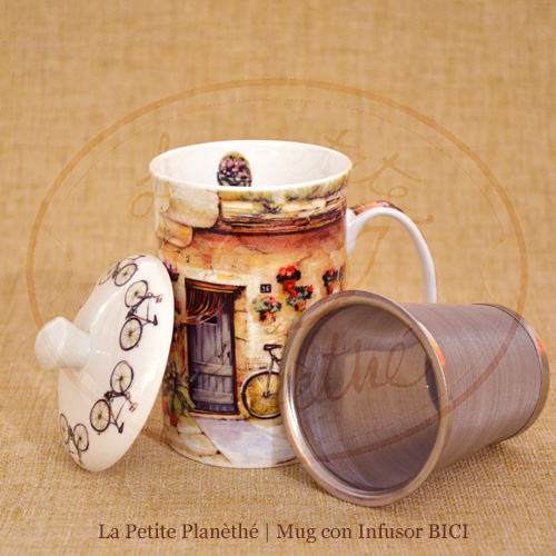 taza con infusor BICI, porcelana Fine Bone China.